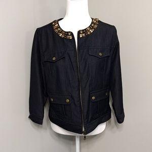 Ruby Rd. Black Denim Jacket Size 8 M